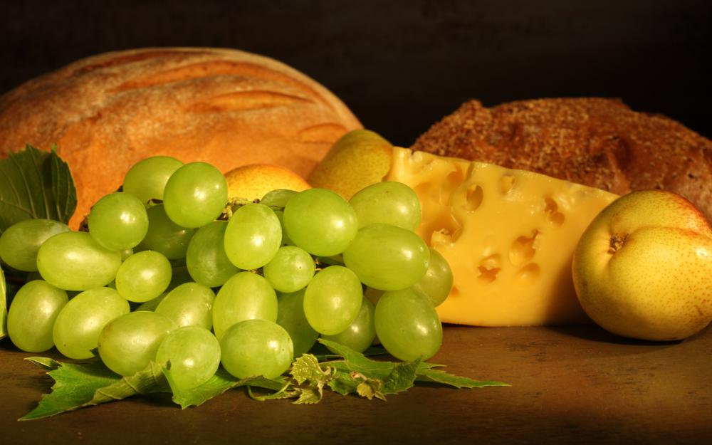 Pears, grapes, fruits, bread, cheese