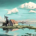 Small island and house scenery wallpaper