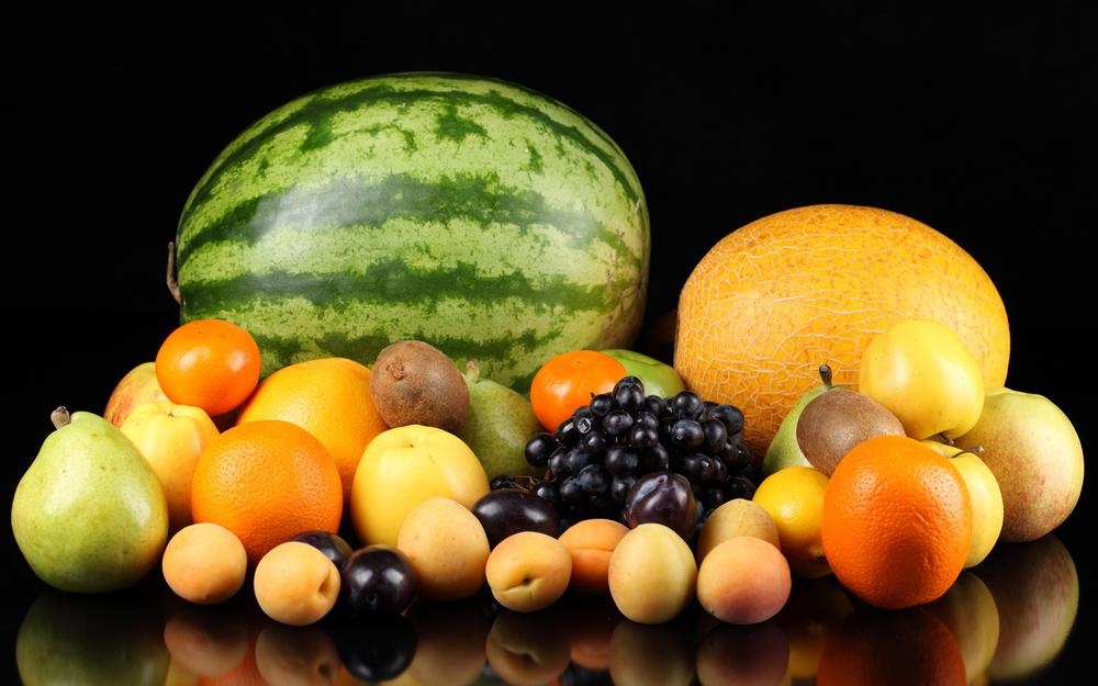 Grapes, apples, pears, fruits, orange, peaches, melon