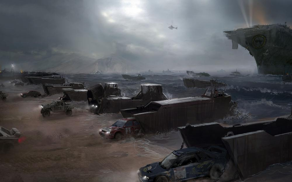 Coast, machinery, aircraft carrier, helicopter, motorstorm, apocalypse, sea