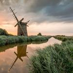 Abandoned, canal, reed, mill, sunset