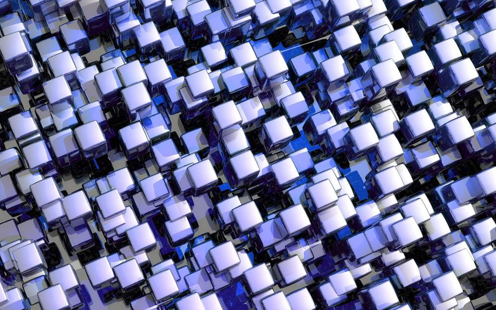 Cubes, glass, set, purple desktop background