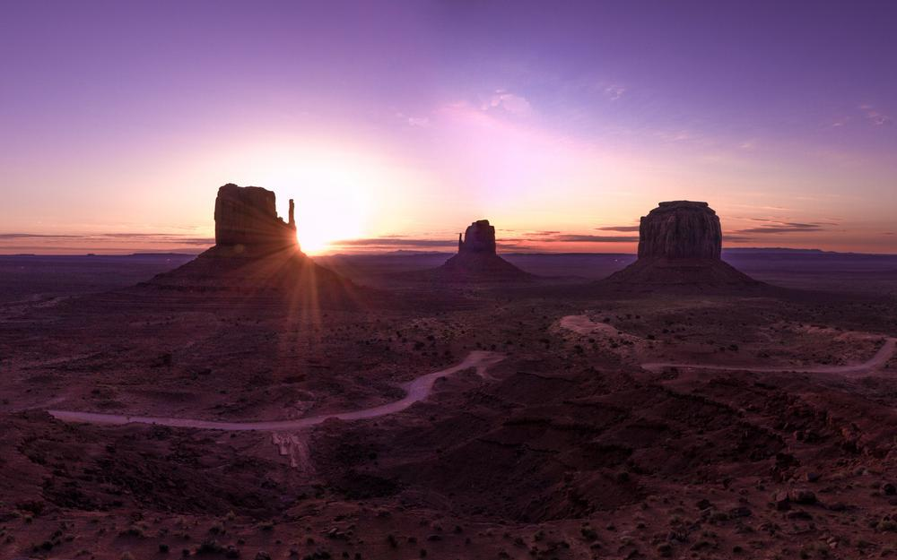 Valley, panorama, arizona, landscape, desert, monument valley, dawn, mountains