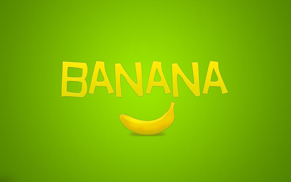 Banana, fruit, green, inscription, minimalism
