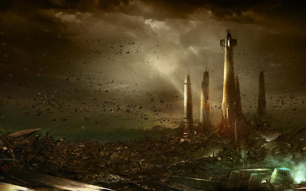 Stones, catastrophe, force unleached, city, explosion, planet, towers
