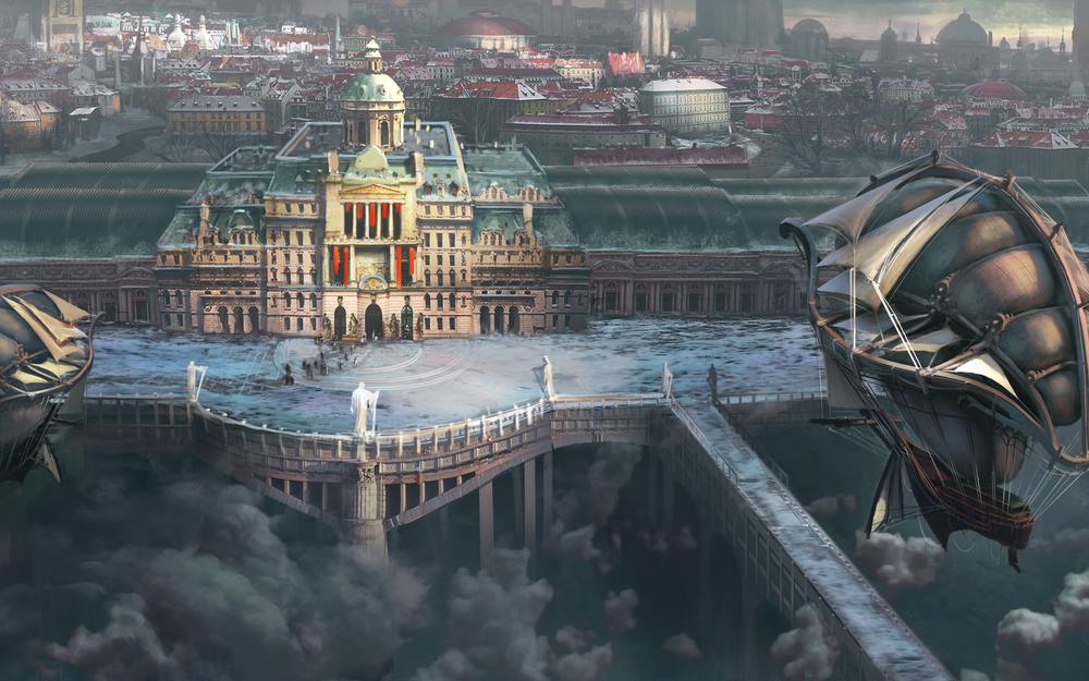 City, airship, clouds, art, building, ships, height