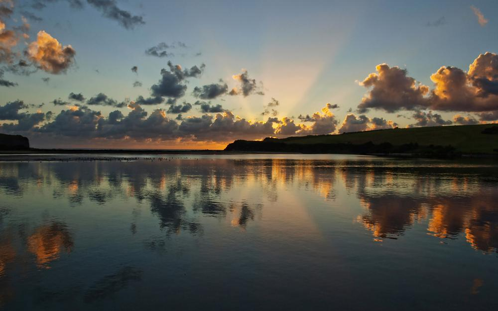 Sunrise, reflection, ☁, clouds, river
