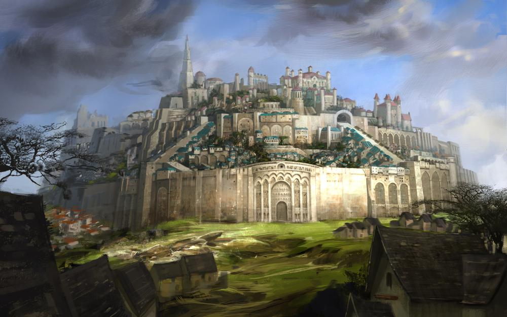 Fortress, guild wars 2, city, drawing