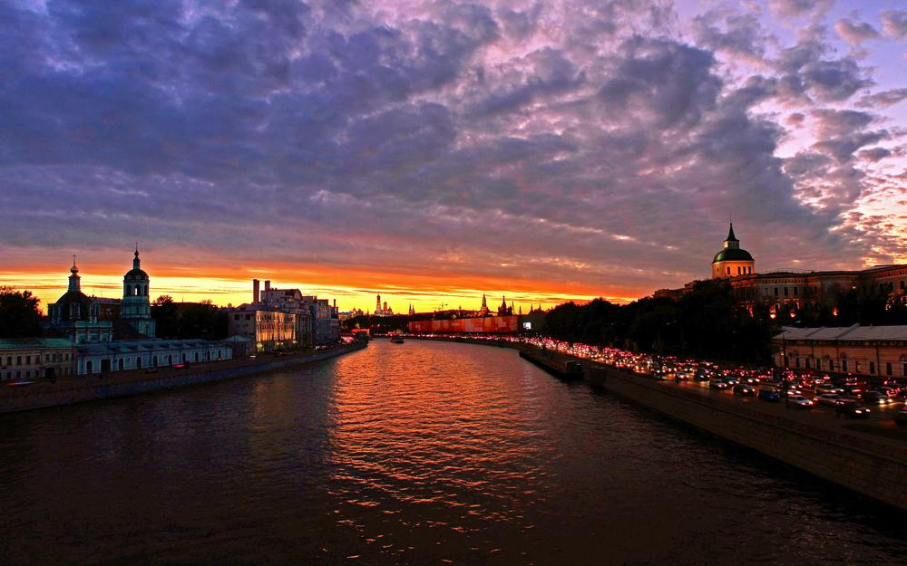 Moscow, city, water channel, sunset, russia, river, dawn, sky, clouds