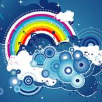 Abstract clouds rainbow graphics