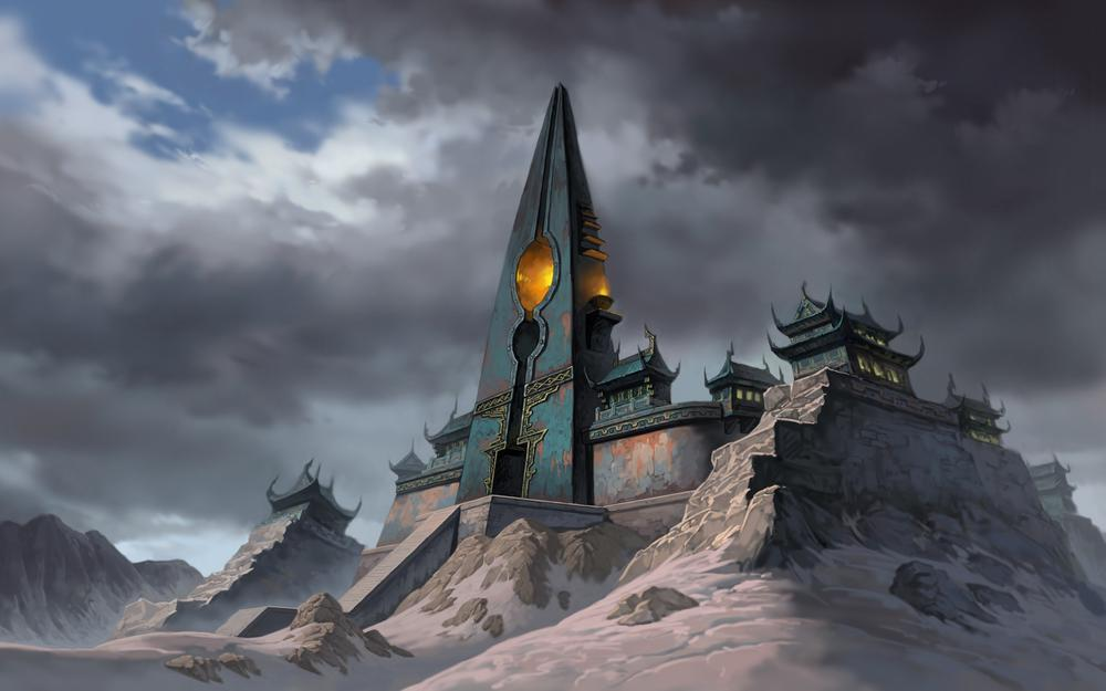 Mountains, jade dynasty, snow, tower, temple