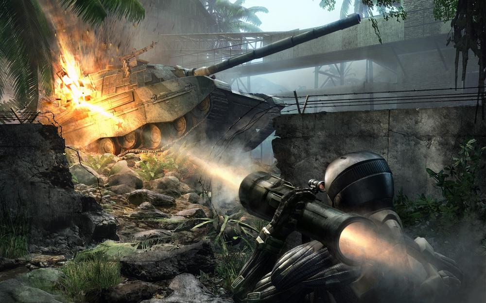 Explosion, tank, nanocossum, crysis, jungle