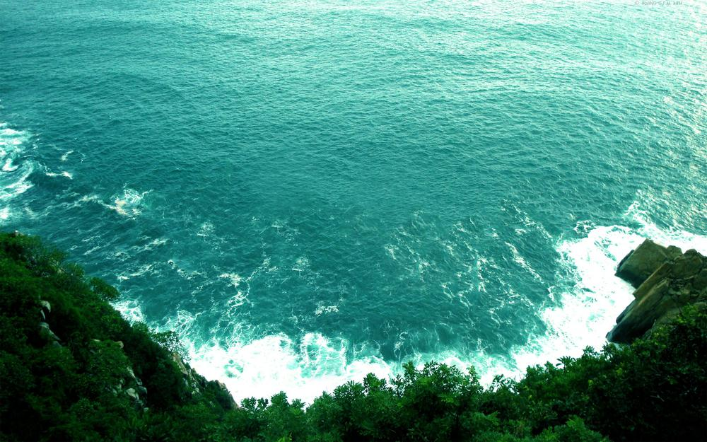 Greens, waves, water, sea, cliff