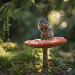 Forest, bokeh, moss, amansor, chest, mushroom, rodent, branches, animal