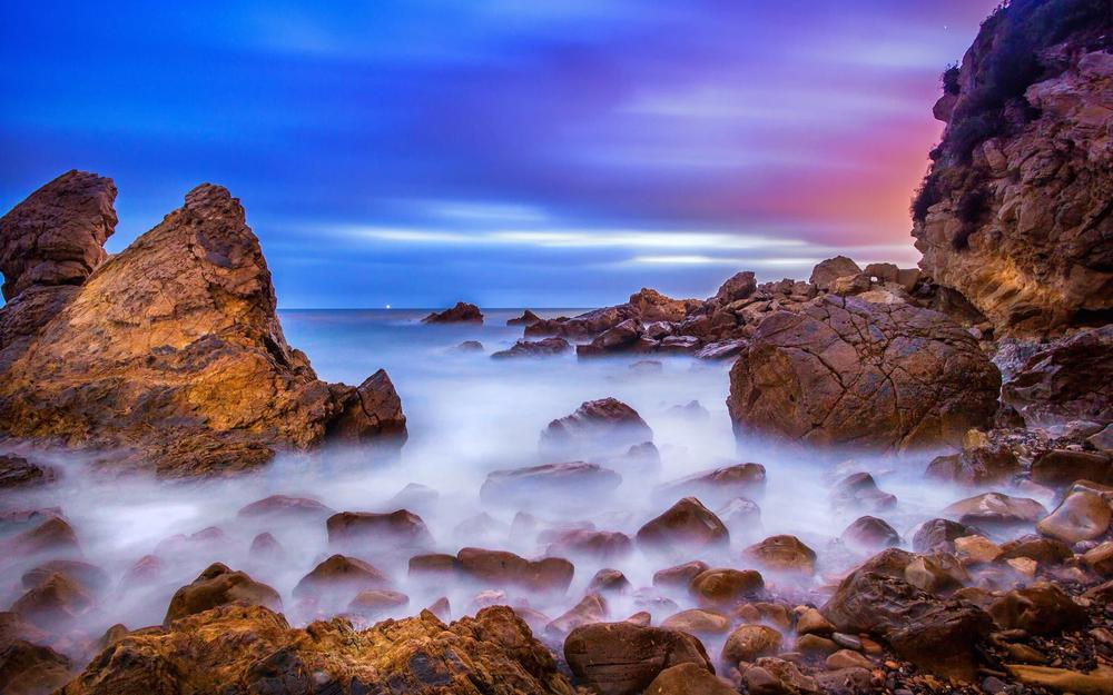 Corona del mar, ocean, dawn, usa, stones, rocks, beach, california