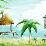 Hand drawn coconut tree desktop background picture
