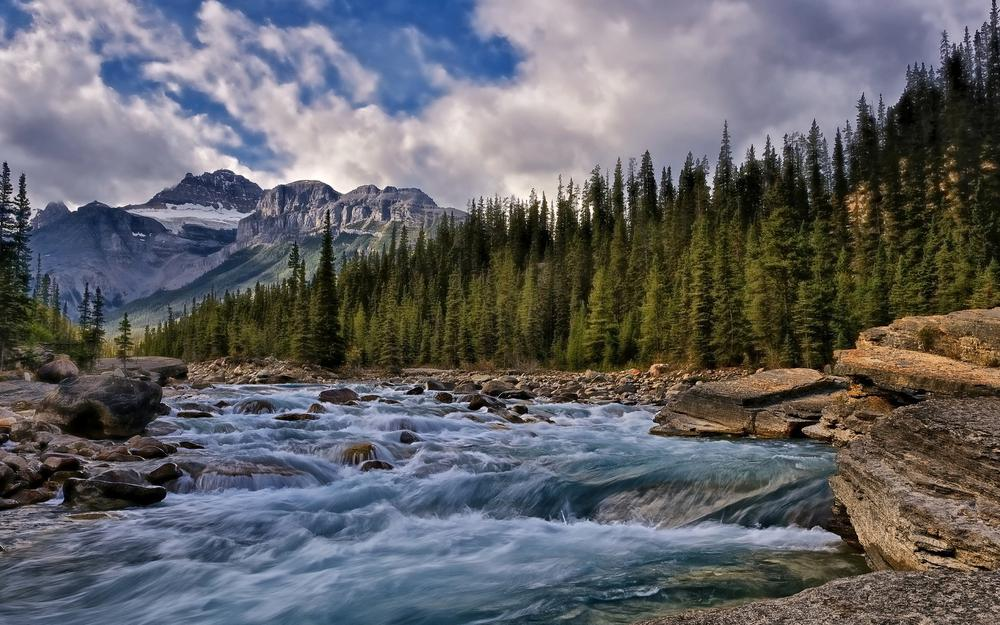 Mountains, forest, canada, sky, water