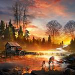 Autumn forest creek cabin watercutum small deer rainbow beautiful artistic landscape hd wallpaper