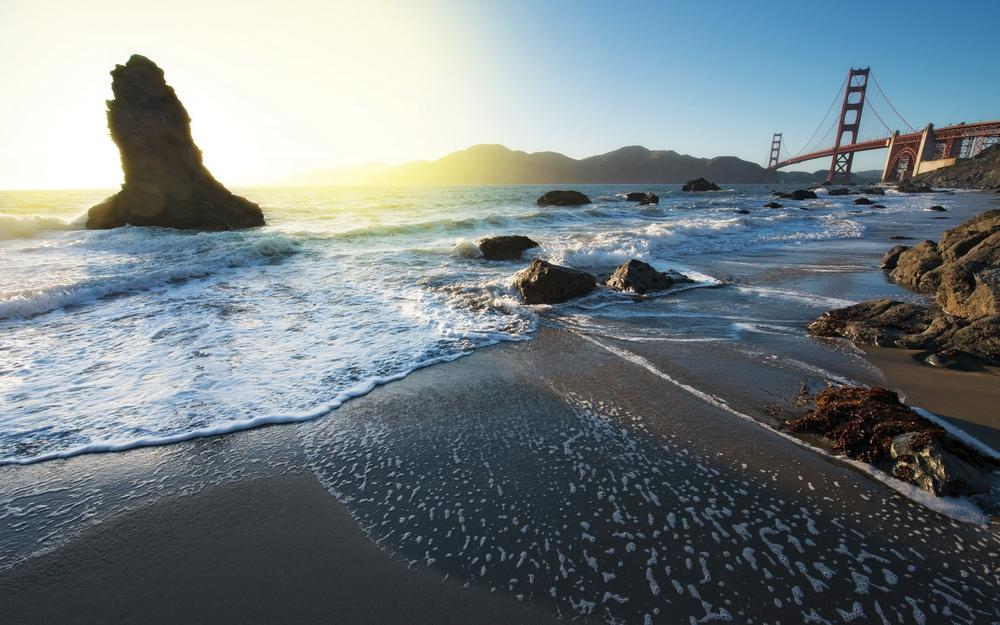 Water, sand, coast, bridge