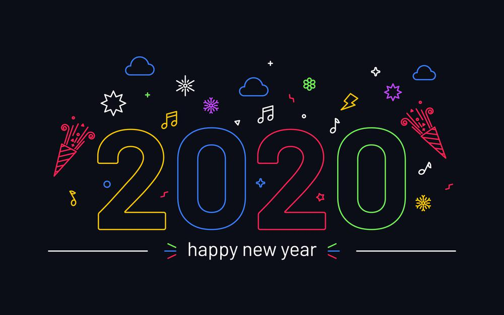 2020 personality art word happy new year wallpaper