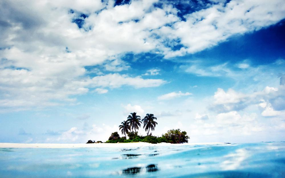 Palms, clouds, island, ocean, sky, landscape, nature, water