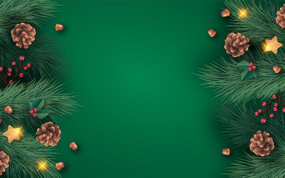Beautiful hand drawn christmas green background pine fruit loose leaves christmas high-definition wallpaper