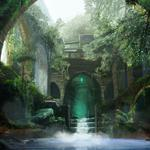 Arch, water, people, thickets, art, ruins