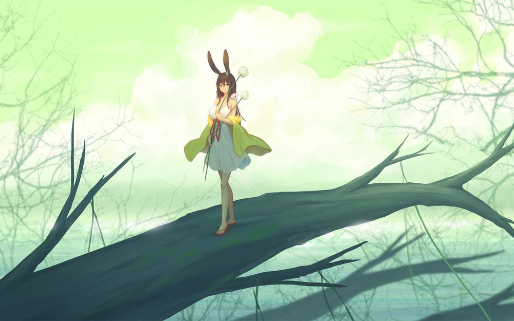 Dried branches of girls, animal, ear, animation, scenery, wallpaper