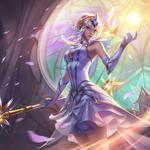 By jean go, league of legends, light, staff, elementalist lux, white dress, light, magician, figure, stained glass