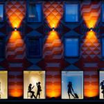 Night, style of the city, silhouettes, windows