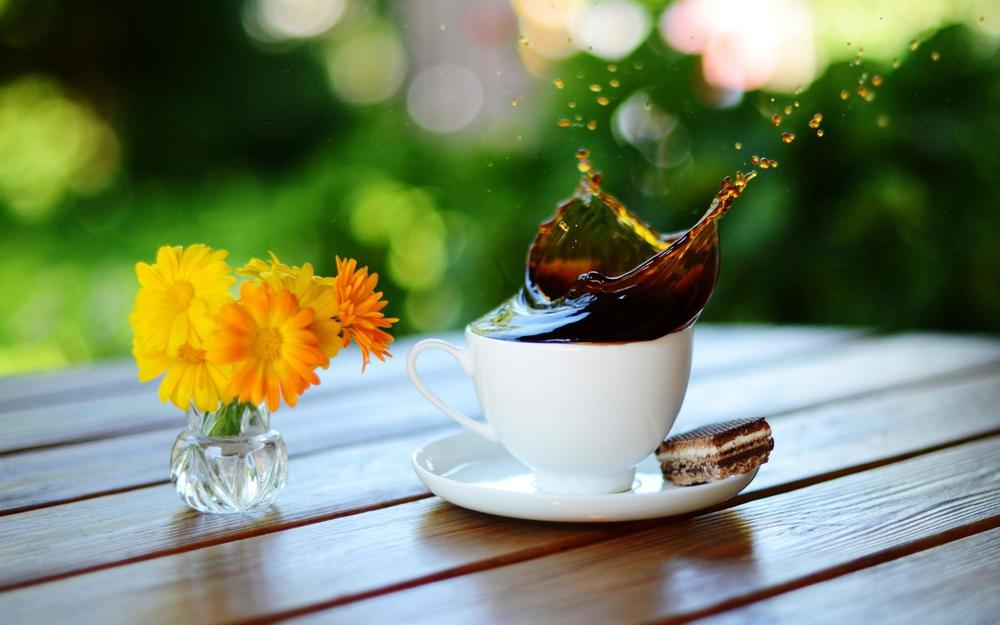 Coffee splashes on table with flower