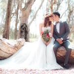Couple, bouquet, bride, wedding, forest, tree, crown of flowers, trees, leaves, groom