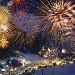 Town, foot of the mountain, fireworks
