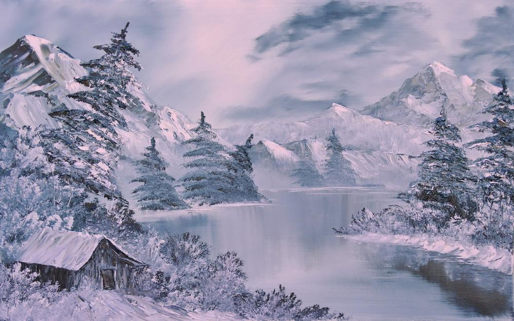 Forest, hood, snow, mountains, winter, painting