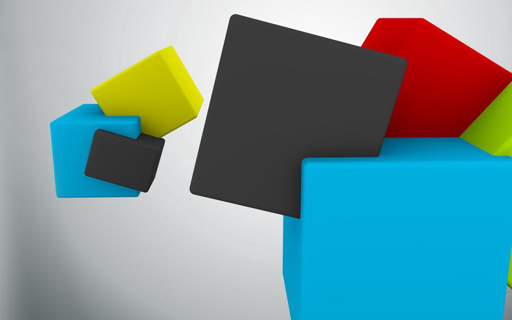 Flying, cube, colored, colorful