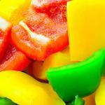 Green yellow red pepper