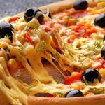 Pizza with cheese and olives desktop background