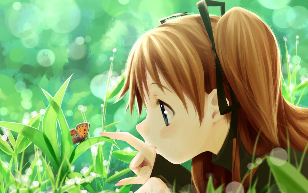 Butterfly, plants, girl, nature