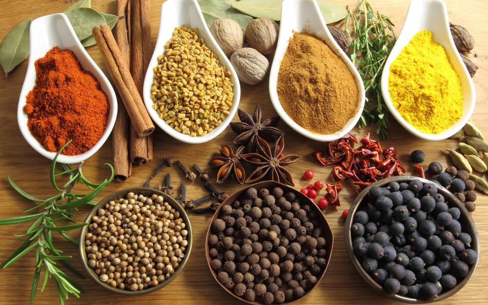 Table with spices and seasonings