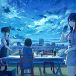 Girls star meteor dining table party animation wallpaper