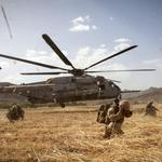 Helicopter, blades soldiers, backpacks