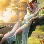 Girl beauty, tree, small squirrel, butterfly, fantasy, beautiful wallpaper