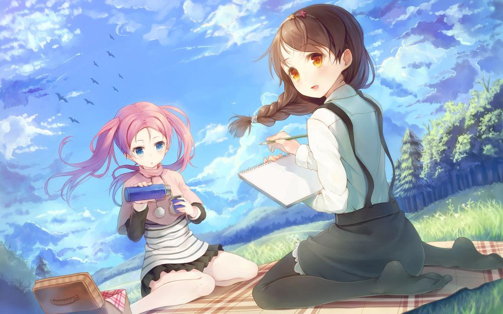 Thermos, wind, girls, sky, picnic, tail