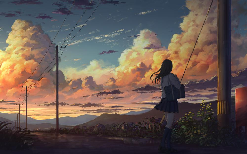 Girls summer dusk electric wire beautiful anime landscape wallpaper