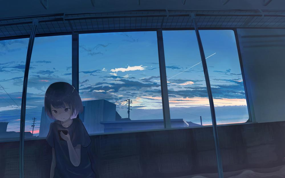 Girl home mobile phone, sunset, anime wallpaper