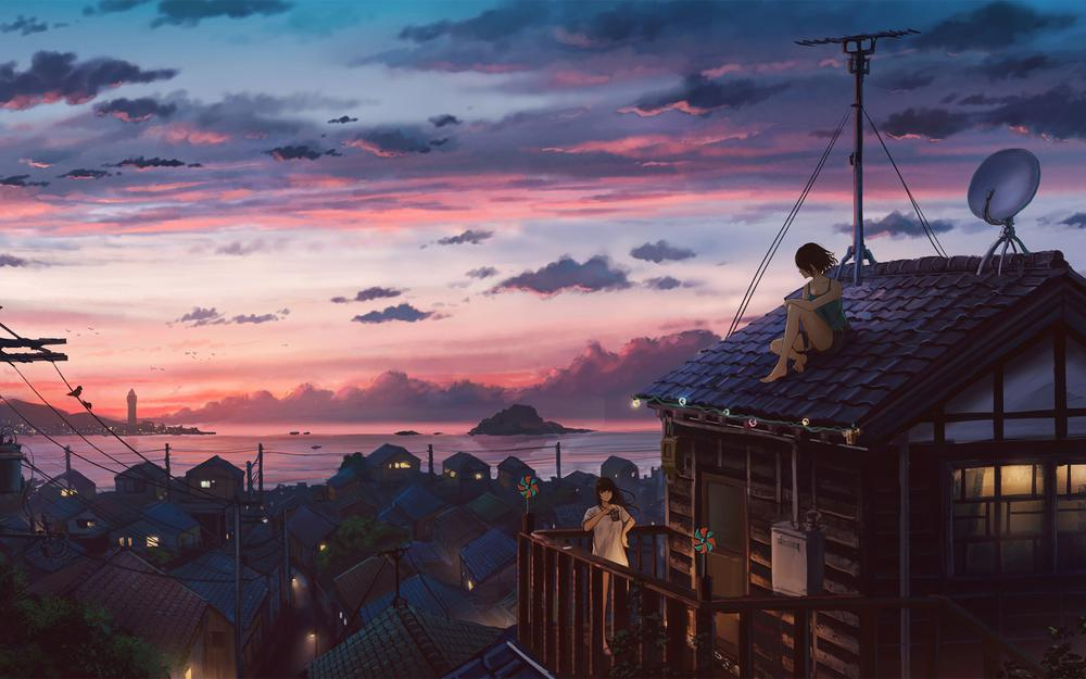 Seaside town girl sitting on the roof beautiful anime scenery wallpaper