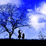 Tree, clouds, stars, child, sky, branches, night, girl, grass
