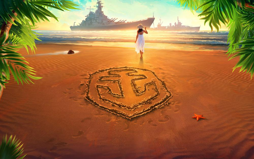 In white, dress, world of warship, barefoot, on shore, ships, drawing, anchor