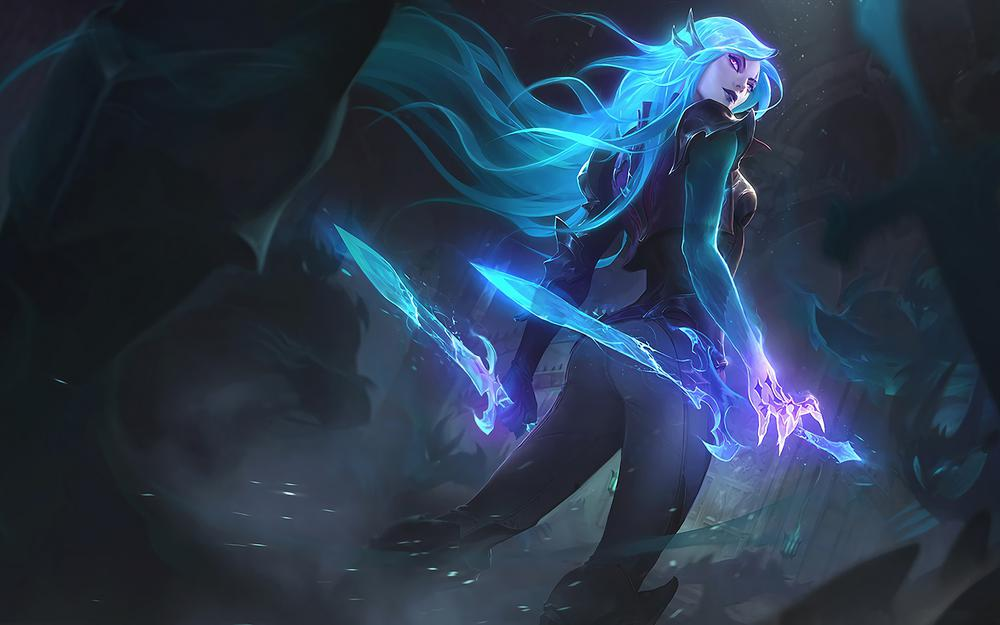 League of legends, artwork, league legends, splash, catarina, blades, death sworn