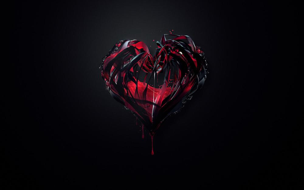 Black heart with blood